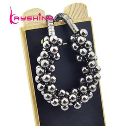 Wholesale Bubble Bead Necklaces - Hot Sale Black Bead Statement Necklace gothic Steampunk Style Girl's Jewelry Multilayer Bubble Choker Necklace colar feminino