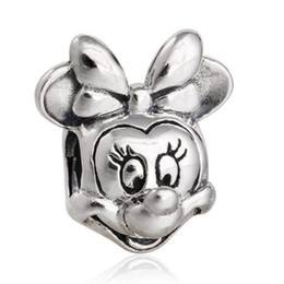 Wholesale Sterling Silver Bracelet For Children - Topeasyjewelry Minnie Charms Bead Authentic 925 Sterling Silver Cartoon Beads fits Brand Bracelet For Jewelry Making Diy Children Bracelets