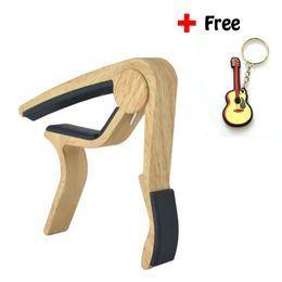 Wholesale Guitar Single - 6-String Wood Grain Acoustic Guitar Capo Single Handed Quick Change High Capo For Guitar,Ukulele,Banjo