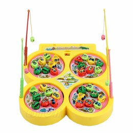 Wholesale Magnetic Rotating Fishing Game - Wholesale-Electric Rotating Magnetic Magnet Fish Kid Child Educational Toy Go Fishing Game