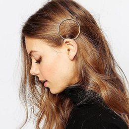 Wholesale Circle Hair Clips - 2017 New Punk Elegant Circle Hairpins Gold Silver Color Fashion Jewelry Round Hair Clip For Women Barrettes Head Accessories Bijoux Gift