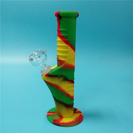 Wholesale Mm Set - Rasta Free shipping 420 Mini Silicone Water Bongs Ten Colors 14.4 mm Joint Glass sets Mini bongs Mini water pipes