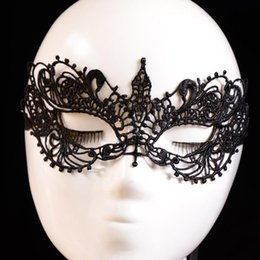 Wholesale Masque Eye - Wholesale- 2016 women eye masks Lace Floral Eye Mask Venetian Masquerade Fancy Party Dress flower mascaras venecianas girl masque dentelle