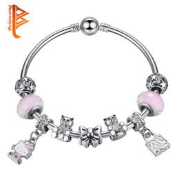 Wholesale Christmas Murano - BELAWANG Silver Plated Kitty Pendant Bangles Pink Murano Glass Beads Teddy Bear Charm Beads Bracelets&Bangles DIY Jewelry Christmas Gift