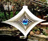 Wholesale Steel Ball Stretching - Gazing Stretched Diamond Stainless Steel Wind Spinner for Home Garden w  Gazing Ball Epoxy Coating Spark Powder Laser Cut Never Rust 6inch