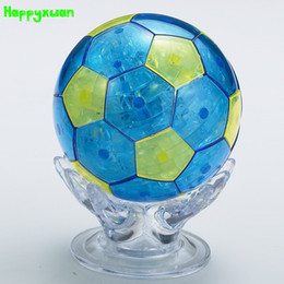 Wholesale 3d Gif - Happyxuan Football Plastic DIY 3D Jigsaw Crystal Puzzle Educational Toys or Home Decoration Birthday Gif t for Children