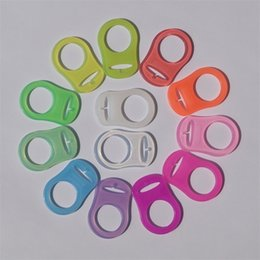 Wholesale Wholesale Mam Pacifier - Colorful Silicone Pacifier Adapter Rings For Button Style Baby Pacifier Ribbon Clips Mam Rings Dummy Pacifier Holder 2110122