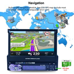 Wholesale Gps Map Sd Card Australia - 7 inch GPS Player with Retractable Automaticly Function 1DIN HD Touch Screen Car MP5 Player +8G Map SD Card