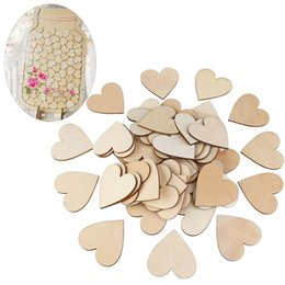 Wholesale Wood Discs - 100pcs 40mm Blank Heart Wood Slices Discs Wedding Christmas Ornaments Wooden Heart Shapes Craft Wedding Guestbook Decoupage