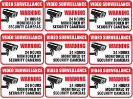 "Wholesale Security Signs Warning - 9 Pieces set 2½""*3½"" WARNING VIDEO SURVEILLANCE 24 HOURS MONITORED BY SECURITY CAMERAS Sign Self Adhesive Vinyl Long-Lasting Decal - Perfect"
