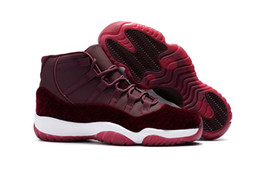 Wholesale Red Wine Fabric - New Retro 11 GS Basketball Shoes Velvet Heiress Night Maroon Wine Red for mens High Quality Athletics Original Outdoor Sports Sneakers
