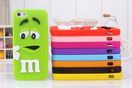 """Wholesale Iphone 4s Case Rainbow - 3D Cartoon Silicone Cases For iPhone 4 4S 5 5S 6 6S M&M""""s Fragrance Chocolate Rainbow Beans Phone Cases Free shipping"""