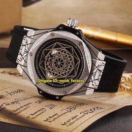Wholesale Brand Ss - Luxury Brand High Quality Big Sang Bleu Automatic Men's Watch 465.SS.1117.VR.1204.MXM17 Diamond Bezel Black Dial Leather Strap Gents Watches