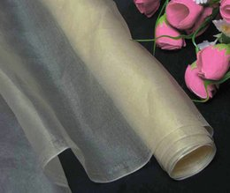 Wholesale Dressmaking Silk - 100% pure silk organza fabric dark ivory dressmaking sewing material cloth for dress for bridal dresses by the meter (1 yard 3 inch)