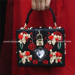 Wholesale Embroidery Baroque - Wholesale-Luxury Designer brand Baroque Embroidery Royal Floral Hand bag Runway Lady bag Purse Hard case