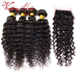 Wholesale Hair Weave Sold Bundles - Hot Selling Deep Wave Curly Hair 3 Bundles and Closure 10-26 Inch Human Hair Bundles Mink Brazilian Weave With Closure Natural Black