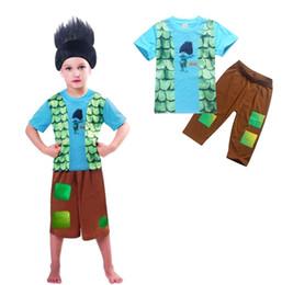 Wholesale Wholesale Linen Pants Sets - Trolls Boys Childrens Clothing Sets Short Sleeve Tshirts Pants 2Pcs Set Cartoon Summer Kids Home Pajamas Enfant Clothes Outfits Wholesale