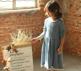Wholesale New Small Girls Dresses - 2017 Spring New Girl Dress small fresh Sweet Long Sleeve Cotton Dress Children Clothing 3-8Y 16150