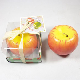 Wholesale Candles Wax Wedding Favors - Apple Candle Paraffin Wax Home Romantic Party Decorations Scented Candles Birthday Christmas Wedding Favors Gifts Ornament with Box