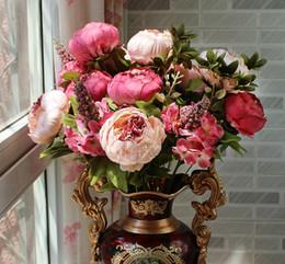 Plantando peônia on-line-Núcleo europeu peônia nove cores de alta qualidade flor artificial simulação flores planta para decoração de casamento venda quente 14xj r