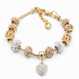 Wholesale Wholesale Pandora Bracelets Set - Gold Pandora Style Bracelet Bead Charm Bracelets for Women Alloy Pendant Crystal Chain Jewelry