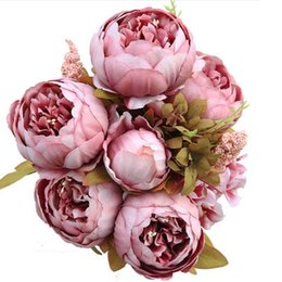 Wholesale Lighted Branches Wholesale - Vintage Silk Flower European 1 Bouquet Artificial Flowers Fall Vivid Peony Fake Leaf Wedding Home Party Decoration 13 Branches