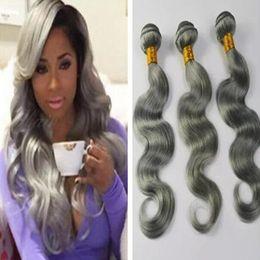 Wholesale Human Hair Extensions Mix Colour - TOP grade brazilian gray virgin hair bundles 3pcs lot colour silver grey hair weaving human hair extensions free DHL