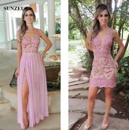 Wholesale Skirt For Young - Short Sheath Tank Detachable Prom Dresses With Long Chiffon Skirt Sparkle Sequins Beaded Appliques Party Gowns For Young Girls