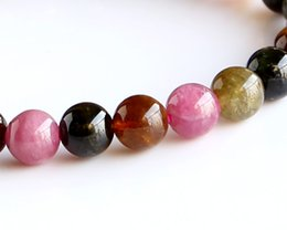 Wholesale 7mm bracelet - Free Shipping Genuine Natural Natural Mix Tourmaline Finished Stretch Bracelet Round beads 7mm Fit Jewelry DIY beads 02972