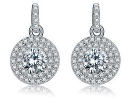 Wholesale European Earrings Diamonds - 925 Sterling silver diamond earrings circle eardrop temperament of European and American fashion women's boutique allergy free