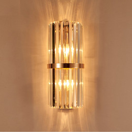 Wholesale Gold Lighting K9 Crystal Lamp - k9 crystal wall sconce bedroom wall lamp with switch livingroom dining bedroom led wall light Conference Hall hotel gold crystal lamps