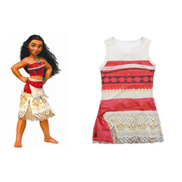 Wholesale Carnival Costumes Wholesale - Princess Moana Cosplay Costume Carnival Christmas Movie Moana Dress Sleeveless One-piece Printed Dress for Kids 3003201