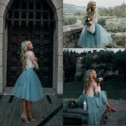 Wholesale Mint Prom Dress Knee Length - 2017 White and Mint Lace Two Pieces Long Sleeve Short Prom Dresses Illusion Boho Party Gowns Graduation Trendy Evening Gowns Cheap