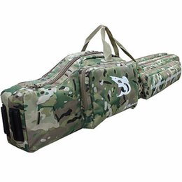 Wholesale Double Rifle Carry Bags - 47inch Tactical hunting carry hand case 1.2m long rifle gun slip double for hunting backpack bag Multicam