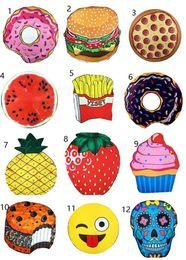 Wholesale Pie Designs - 13 Design round beach towel Skull Ice Cream Strawberry Smiley Emoji Pineapple Pie Watermelon Beach Shower Towel Blanket Beach Towels HOT