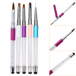 Wholesale Touch Screen Nails - 2 in 1 Double-Head Touch Screen Function 5Pcs Nail Art Brush Tools Set Acrylic UV Gel Builder Painting Drawing Brushes Pens