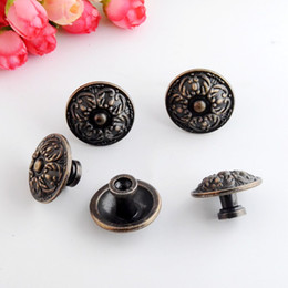 Wholesale Wooden Jewelry Boxes Drawers - Wholesale- Free Shipping 4PCs Jewelry Wooden Box Pull Handle Dresser Drawer For Cabinet Door Round Antique Bronze 34x22mm J3148