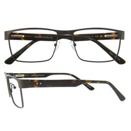 Wholesale Framed Bag - New arrival rectangle metal frame creative pattern optical frame for men spring hinge prescription designer eyeglasses frame