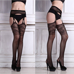 Wholesale Lace Panties Garter - Wholesale- 2016Hot Sexy Underwear Woman Hollow Out High Waist Net Lace Fishnet Top Garter Belt Thigh-Highs Stocking Pantyhose Panties Black