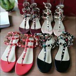 Wholesale Medium Heel Shoes Multicolor - Multicolor Color Rivets Spiked Gladiator Flat Sandals Stones Studded Clip-toe Flip Sandal Big Size Designer Women Shoes Summer