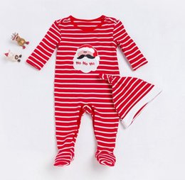 77f8cd0dd9b3 2017 fall autumn baby romper long sleeve infant christmas clothing toddler  santa jumpsuits striped hat newborn clothes kids boutique onesies