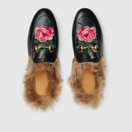 d57399ad21ae Chinese NEW Fashion Brand Loafer Slippers Women Genuine Leather Real Fur Slippers  Flats Winter Fur Slides