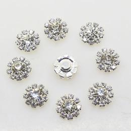 Wholesale Flower Embellishments - 100pcs 12mm Flower Metal Wedding Rhinestone Embellishments Button Flatback Buckle Diy Accessories Wedding Decoration