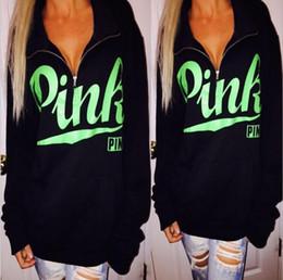 Wholesale Sweatshirt White Wholesale - Pullover Hoodies Women black zipper Printed Pink Casual Kpop Hoodie Loose Fashion Brand Clothing Sweatshirt Women Tops Truien YYA260