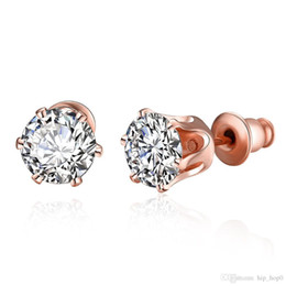 Wholesale Wholesale Nickle Plated Jewelry - Personalized Creativity Round Zircon Earrings Lady Rose Gold Plated korean Earring Nickle Antiallergic Jewelry Wholesale Women Stud Earrings