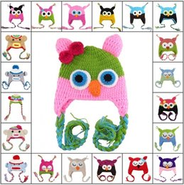 Wholesale Handmade Owl Monkey Crocheted Baby - 100%Cotton Children Handmade Crochet Monkey and Piggy and Parrot Hats Various Animal Styles Hat Baby Owl Beanie Hat Wool E