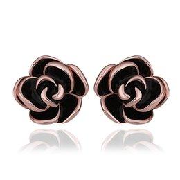Wholesale Cuffed Earings Pierced - New Rose Gold-Color Black Earring Stud Earrings For Women Bijoux Piercing Brinco Ouro Ear Cuff Earings Fashion Jewelry E924 3