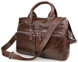 Wholesale Laptop Md - Quality Classic Vintage Genuine Cow Leather Men's Black   Coffee Briefcase Portfolio Handbag Laptop Bag Messenger Bags #MD-J7122