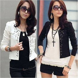 Wholesale Casual Cotton Blazer Womens - Ladies Womens Long Sleeve Rivet Stud Short Casual Suit Coat Jacket Blazer Top
