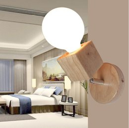 Wholesale Wall Mounted Bedside Lights - Modern Oak Wood Adjustable Wall Lamp Bedroom Bedside Sconce Lights Fixture Indoor Wall Mounted Light Fitting For Living room LLFA